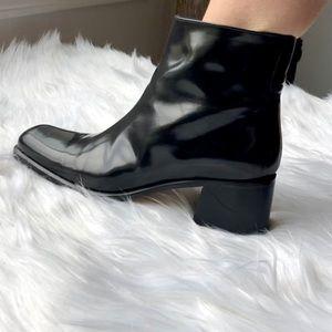 Via Spiga Vintage Black Chunky Heel Booties 7 B